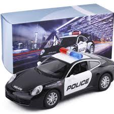 police car toy shenghui 1 32 for porsche police car alloy sound and light back to