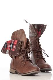 brown faux leather fold over plaid print combat boots cicihot