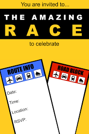 great year old party idea the amazing race birthday invitation