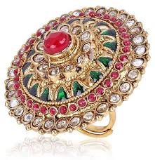 big finger rings images Buy shining diva multicolor gold plated ring for women 6683r jpg
