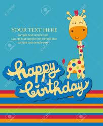 cute happy birthday card with nice giraffe vector illustration