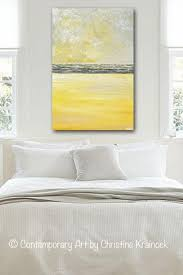 GICLEE PRINT Art Yellow Grey Abstract Painting Modern Textured
