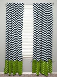 Navy Chevron Curtains Curtain Panel With Banding Navy Chevron Lime By Leahashleyokc