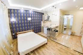 modern studio apartment kitchen and living room interior design
