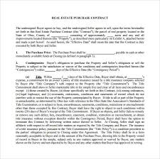 sample real estate purchase agreement 7 examples format