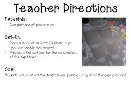 Challenge Directions Cup Tower Engineering Challenge Project Great Stem Activity