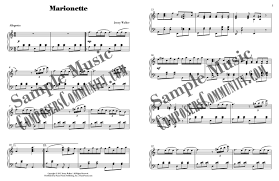marionette music by jenny walker sheet music piano pronto