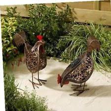 smart solar metal scroll hens ornamental garden lights 2pack ebay
