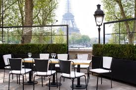 habitually chic shares this terrace dining area from restaurant