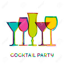 cocktail party silhouette abstract colorful cocktail glasses vector watercolor background