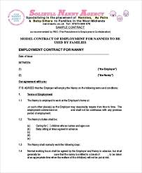 nanny contract template 10 sample nanny contract templates free