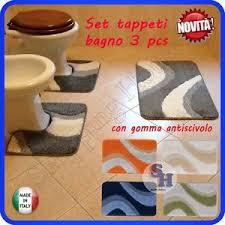 tappeto lavatrice tappeto bagno parure set 3 pezzi antscivolo modello evia lavabile