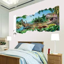 home decor 3d stickers 3d dinosaurs through the wall stickers jurassic park home