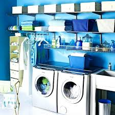 fancy blue small laundry room interior design with cool wall paint
