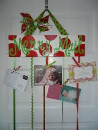 merry mail christmas card holder display burlap ribbons wooden