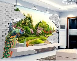 aliexpress com buy 3d landscape peacock garden wall fashion