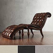 Indoor Chaise Lounge Amazon Com Brown Leather Chaise Lounge Chair With Ottoman
