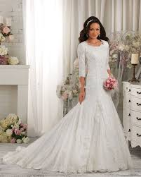 modest wedding dresses with 3 4 sleeves 2016 newly luxury white lace applique modest wedding