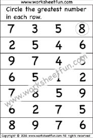 greatest number u2013 2 worksheets kindergarten worksheets