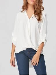 white blouses high low chiffon draped blouse white blouses 2xl zaful