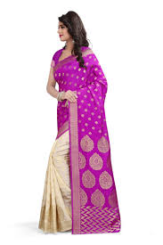 Buy Violet Embroidered Art Silk Buy See More Self Designer Pink Color Art Silk Saree With Blouse
