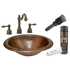 copper wide rim oval self rimming hammered copper sink package