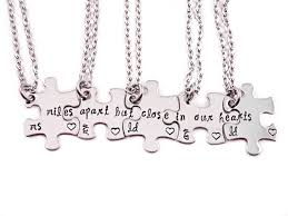 puzzle heart pendant necklace images 64 puzzle piece necklace set of 4 4 best friend heart necklaces jpg