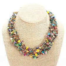 fair trade home decor 12 strand bead beach ball necklace handmade and fair trade