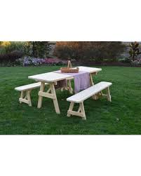 picnic table with separate benches amazing deal on outdoor a l furniture pine picnic table with