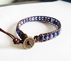 Handmade Mens Bracelets - 4 mm kyanite bracelets blue bracelets bracelets leather