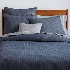 flannel pinstripe duvet cover shams midnight west elm