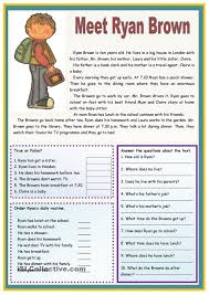ideas of reading comprehension esl worksheets about example