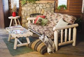 rustic log framed cabin or cottage living decor and furniture