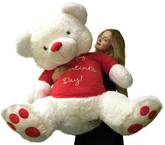 teddy valentines day 4 foot teddy soft white 48 inches wears happy
