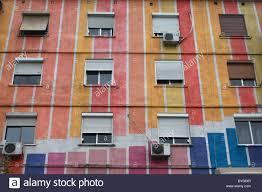 albania tirane tirana exterior of multi coloured apartment