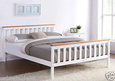 White Wood Bed Frame King Size Bed Frames Ebay