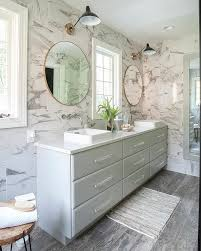 Dual Illuminated Vanity Mirrors Gray Double Bath Vanity With Round Gold Mirrors Transitional