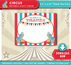 circus theme birthday party thank you cards the party stork