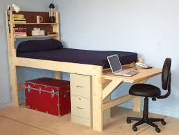 shown with the short desk at the end of the bed high rise low