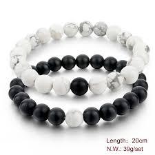 energy bead bracelet images Mens beaded marble bracelet yin yang energy bracelet fashion jpg