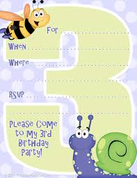 Birthday Invitation Cards Free Download 3rd Birthday Party Invitation Template Printable Party Kits