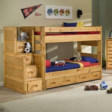 Twin Loft Bed With Stairs Trendwood Bunkhouse Twin Over Twin Wrangler Staircase Bunk Bed