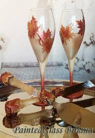 Maple Leafs Toaster Autumn Set Of 2 Hand Painted Wedding Champagne Flutes Maple Leaf