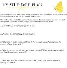 your self care action plan free printable worksheet health
