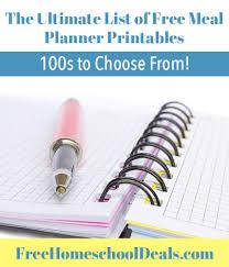 printable menu planner pages the ultimate list of free meal planner printables free homeschool