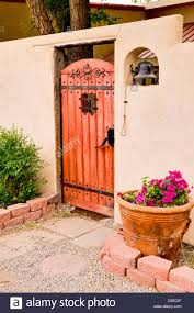 entrance to spanish style courtyard stock photo royalty free