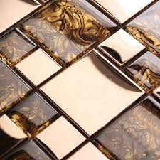 Metal Glass Tile Stainless Steel Mosaic Tile With Porcelain Base - Glass and metal tile backsplash