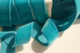 teal velvet ribbon by the yard 24mm