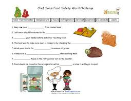 food safety fill in the blanks worksheet for elementary