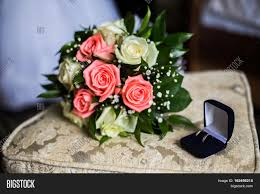wedding preparation for wedding rings on blue box wedding image photo bigstock